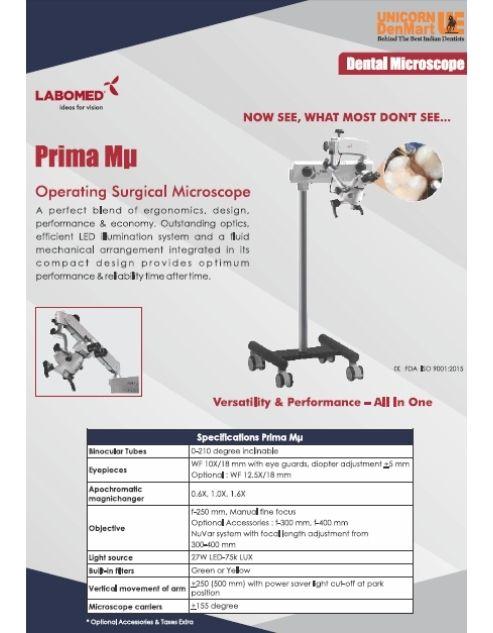 Labomed Prima MU Dental Microscope Brochure